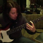 "Sue practicing bass on ""Could You Be"" (http://youtu.be/nZST_o85-hw)"