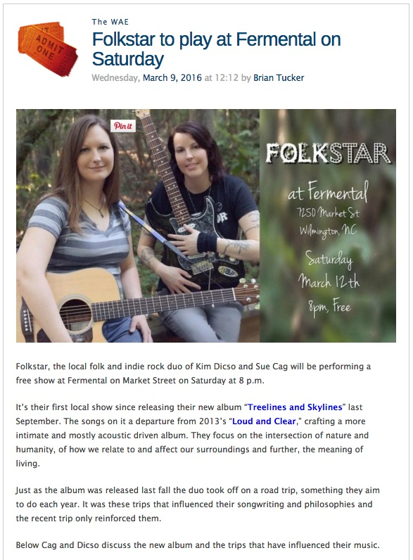 Folkstar in WAE March 9th 2016